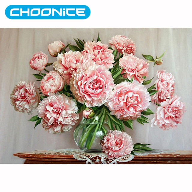 5d Diy Diamond Painting Vase Diamond Embroidery Roses Pink Flower