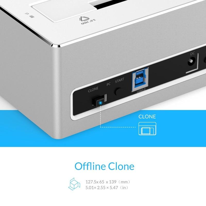 ORICO USB 3.0 naar SATA 3.0 dual-bay HDD docking station aluminium - Externe opslag - Foto 5