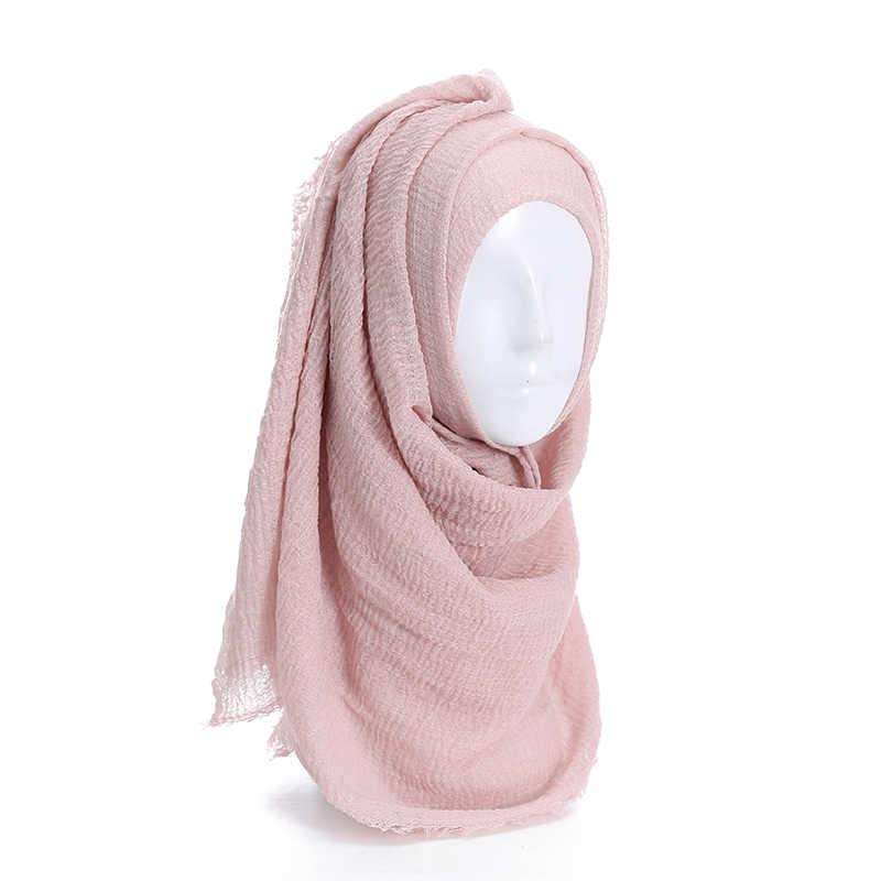 Wrinkle Maxi Solid Scarf Bubble Plain Muslim Hijab Scarf Pashmina Foulard Shawl Fashion Women