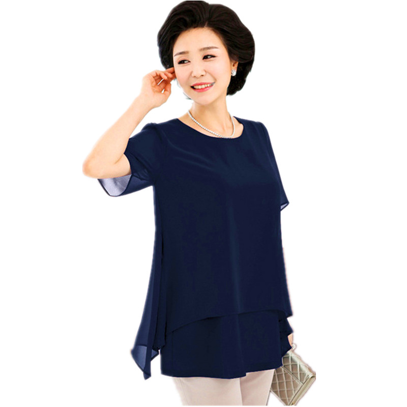 Middle Age Women Summer Tops Big Size Mother Clothes Plus Large Size 5 xl 6  xl 7xl Female Navy Fake Two Piece Chiffon Blouse b0ffda0be090
