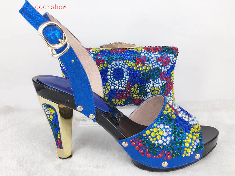 doershow Italian Shoes with Matching Bags Set for Party African Shoe and Bag with Diamonds Shoe and Bag To Match Set Hlu1-30 african wedding shoes and bag sets women pumps decorated with diamonds italian matching shoe and bag mm1014