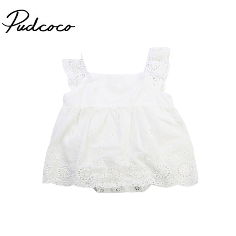 2017 Adorable Newborn Baby Kids Girls Summer Infant Romper Dress Lace Ruffled Hollow Jumpsuit White Cotton Clothes Outfits