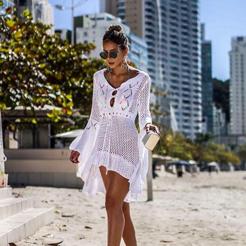 2019 New Beach Cover Up Bikini Crochet Knitted Beachwear Summer Swimsuit Cover Up Sexy See-through Beach Dress 1
