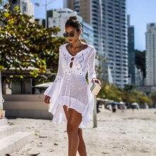 2019 New Beach Cover Up Bikini Crochet Knitted Beachwear Summer Swimsuit Cover Up Sexy See-through Beach Dress