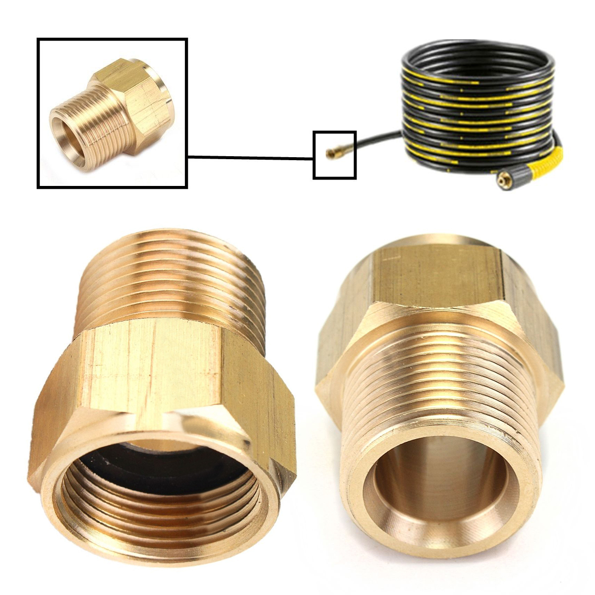 1pc High Pressure Hose Coupling Adapter Connector M22 Male * M22 Female 31*14mm Mayitr For HD HDS Spray Pressure Washer 59 brass freon high pressure refrigerator of copper adapter connector female inner diameter 24mm to male 11mm