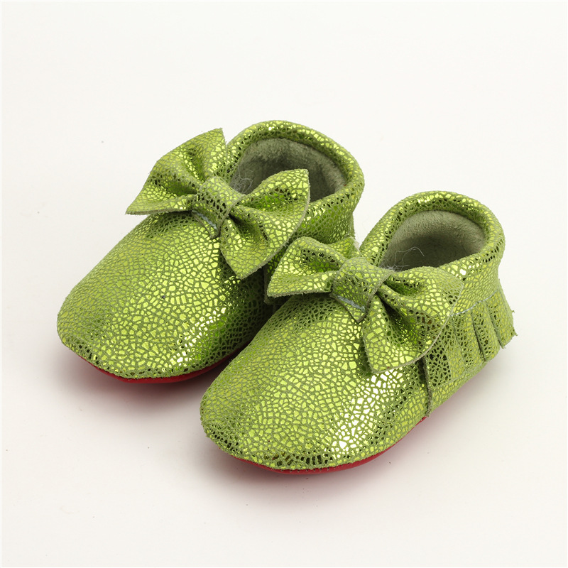 Newest Baby Shoes mirror crack Genuine Leather Baby Moccasins Soft bottom Bebe newborn Toddler bow First Walkers
