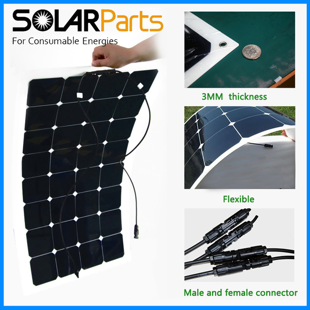 Boguang 1PCS 100W 12V Black Flexible Solar Panel solar module mono solar Cell for RV/yacht/boat/camping car/outdoor charger