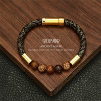 RUIMO Bead Leather Bracelet Natural Stone Leather Bracelet Men Rope Bangle Wristband Trendy Jewelry 2019