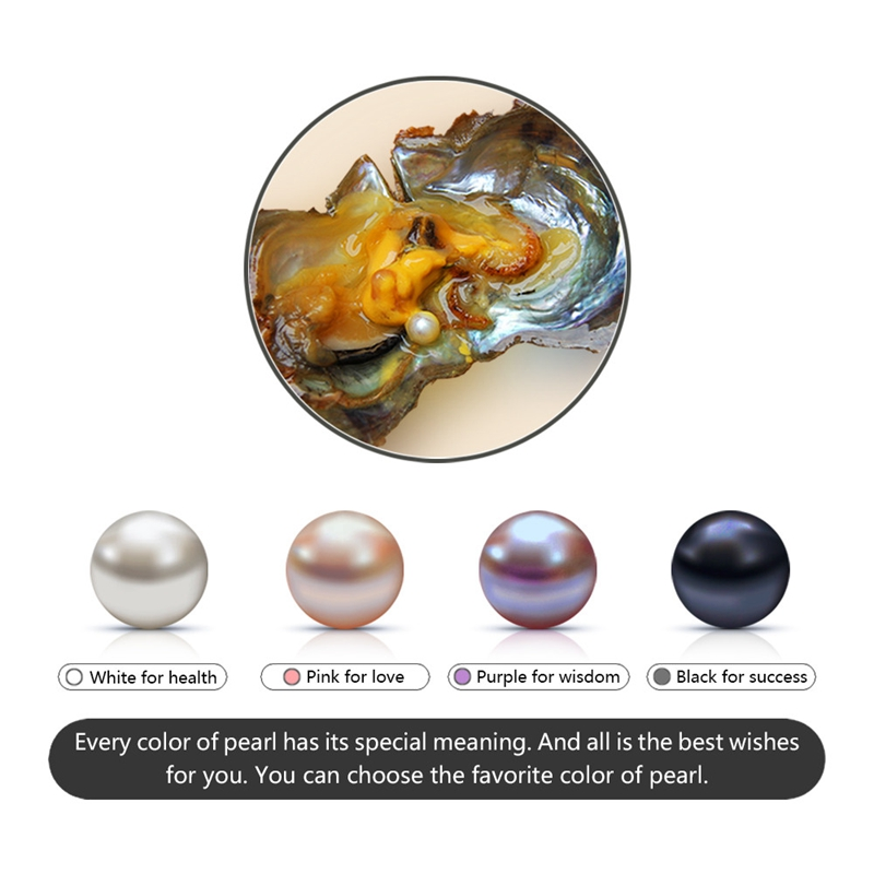 CLUCI Oysters With pearls Wish Round 4pcs single packaged 6-7mm Genuine Akoya Pearl Assorted Colors Beads Round Akoya Pearls
