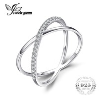 JewelryPalace X Marks Round Cubic Zirconia Cocktail Ring For Women Pure 925 Sterling Silver Jewelry Fashion