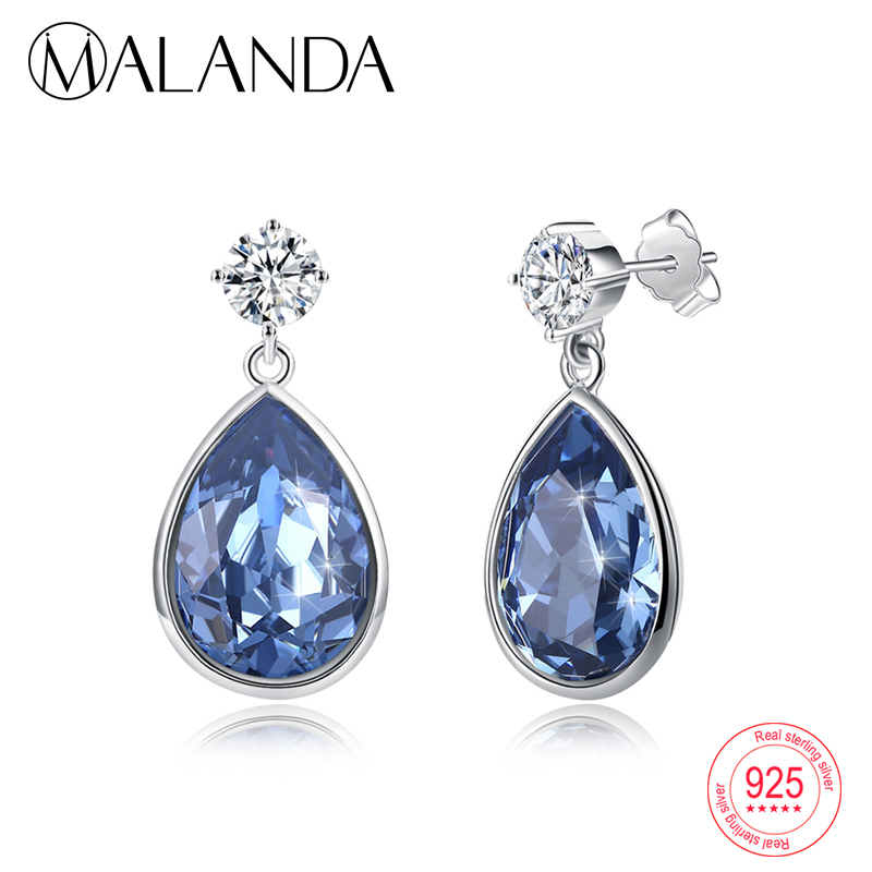MALANDA Water Drop Crystal From Swarovski Dangle Earrings For Women Sterling silver Earrings Fashion Earring Jewelry Mom's gift