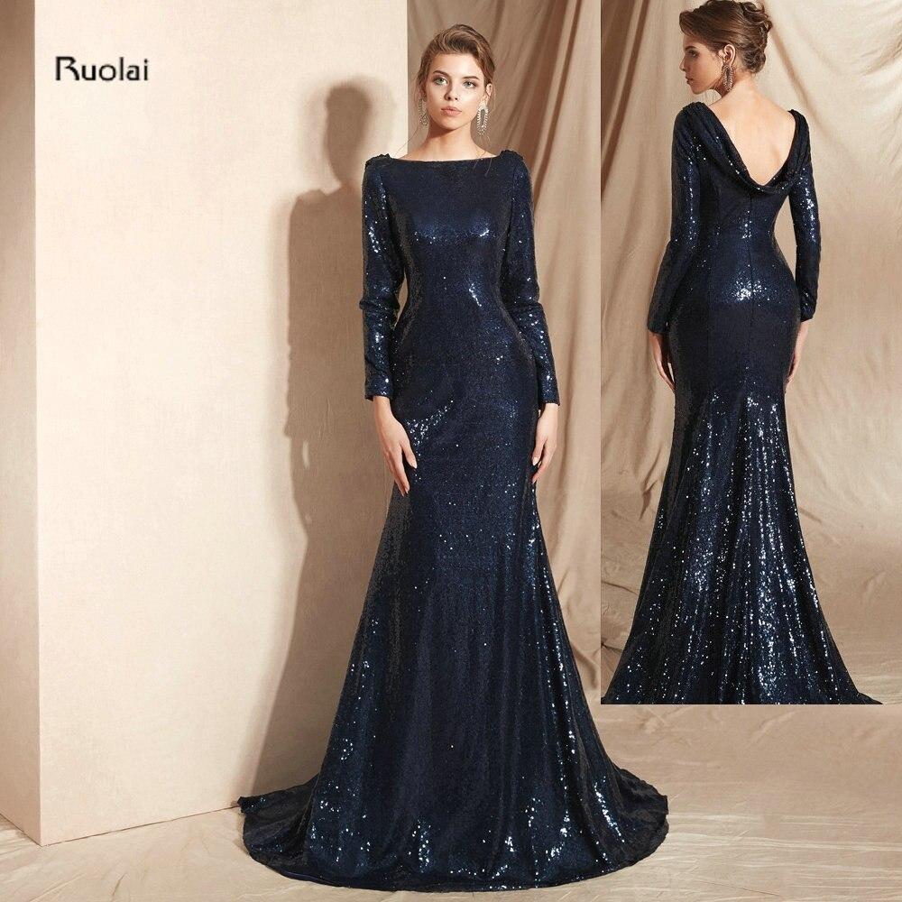 Luxury Mermaid Long   Evening     Dress   Long Sleeves Sequin   Evening   Gown   Dress   Women   Evening     Dresses   Long