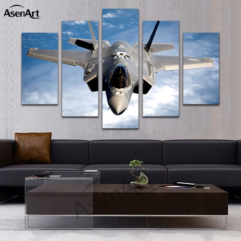 modern living room canvas art wooden furniture sofas aliexpress.com : buy 5 panel painting fighter airplane ...