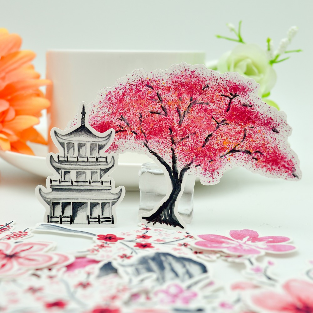 38pcs Pink Pretty Japanese Cherry Blossoms Flower Tree Sticker Diary Notebook Pink Girl Diary Thin Paper Sticker
