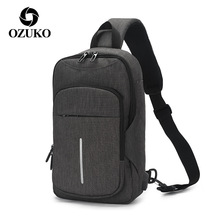 OZUKO 2019 Fashion Men's Messenger Bags Water Repellent Chest Pack USB Charging Shoulder Bag Male Crossbody Bag for 9.7 iPad u pick fashion fresh transparent water repellent cosmetic bags
