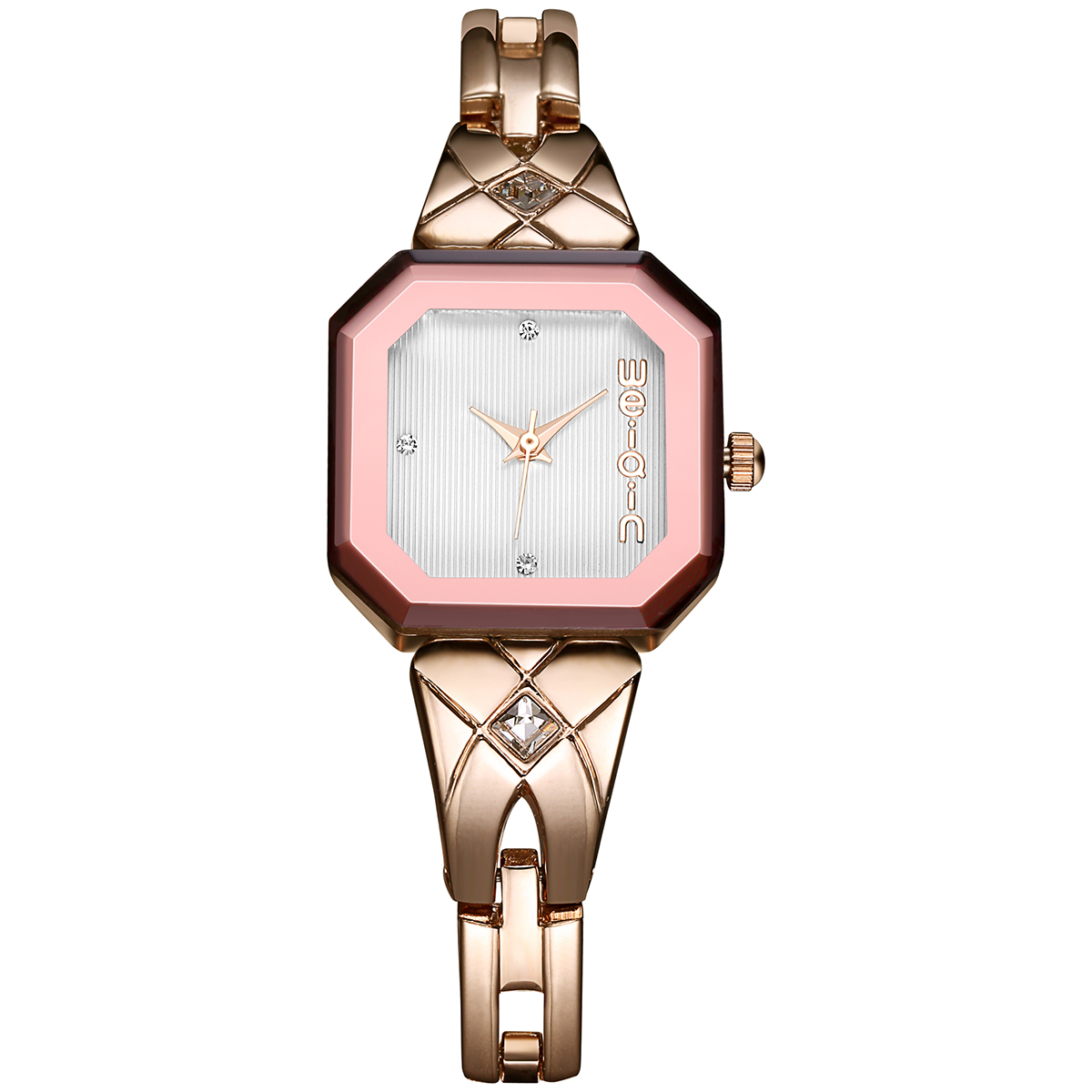 WEIQIN Rectangle Dial Gold Quartz Watches Women Simple Rhinestone Scale Hardlex Wristwatch Bracelet Strap Fashion Ladies Watch weiqin new rose gold watches women resin band shell dial analog quartz wirstwatch hardlex rhinestone display luxury watch