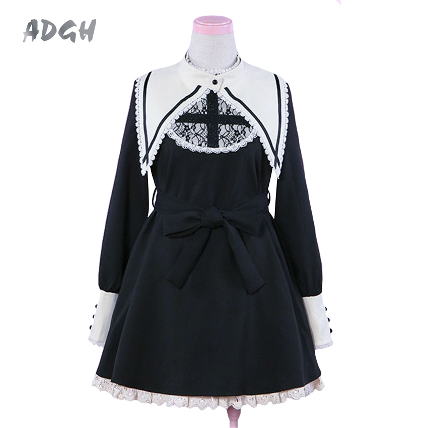 Gothic Lolita Darkness Cross Dress Nun Sister Style Fake Collar Lace Long Sleeve Cute Unique Japanese