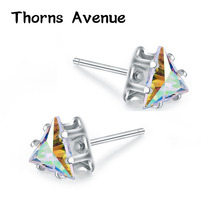 Thorns Avenue Fashion 6mm 2PCS/Lot 11 Colors AAA Cubic Zirconia Triangle Shape Bridal Stud Earring Women Jewelry For Party