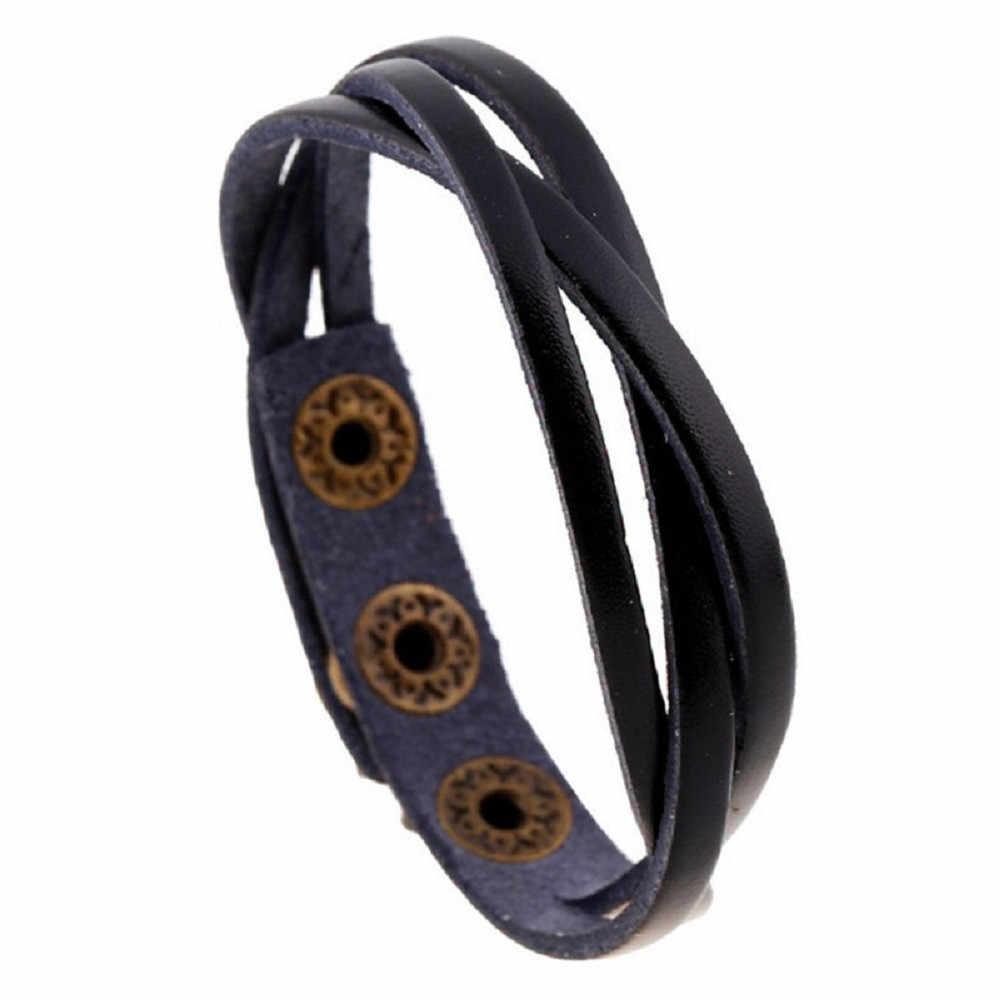Korean New MEN WOMEN Leather Wrap Braided Wristband Cuff Punk Men Women Bracelet Bangle PU Leather Dropship accessories