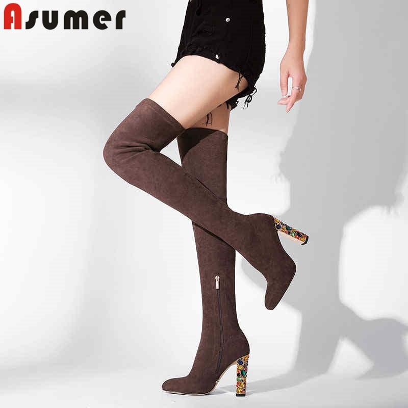 ASUMER 2018 di modo di autunno inverno stivali punta rotonda sopra il ginocchio stivali di strass elegante di promenade delle signore coscia stivali alti