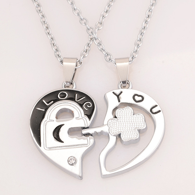 935898d404 2016 New Style Silver Key Half Heart I Love You Couple Lovers' Pendant  Necklace For Women and Men Fashion Necklace Jewelry