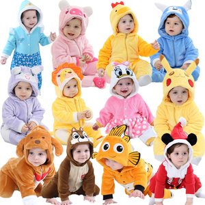 Baby rompers Cartoon Winter Warm Coral Fleece Cute Lion Christmas Gifts Baby Boy Girl pajamas Fish roupas de bebe recem nascido(China)