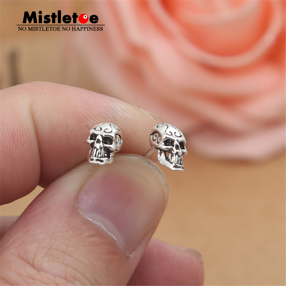 Authentic 925 Sterling Silver Vintage Punk Lucky Skull Stud Earrings For Women Or Men Jewelry