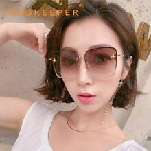 LongKeeper Fashion Square Sunglasses Women Big Metal Frame Sun Glasses Female Gradient Color Trendy Shades UV400 Oculos