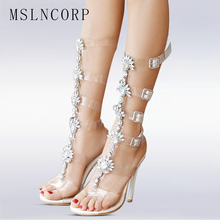 plus size 34-50 Fashion Gorgeous Crystal Flower High Heel Women Sandal Boot Sexy Gladiator knee high transparent buckle sandals