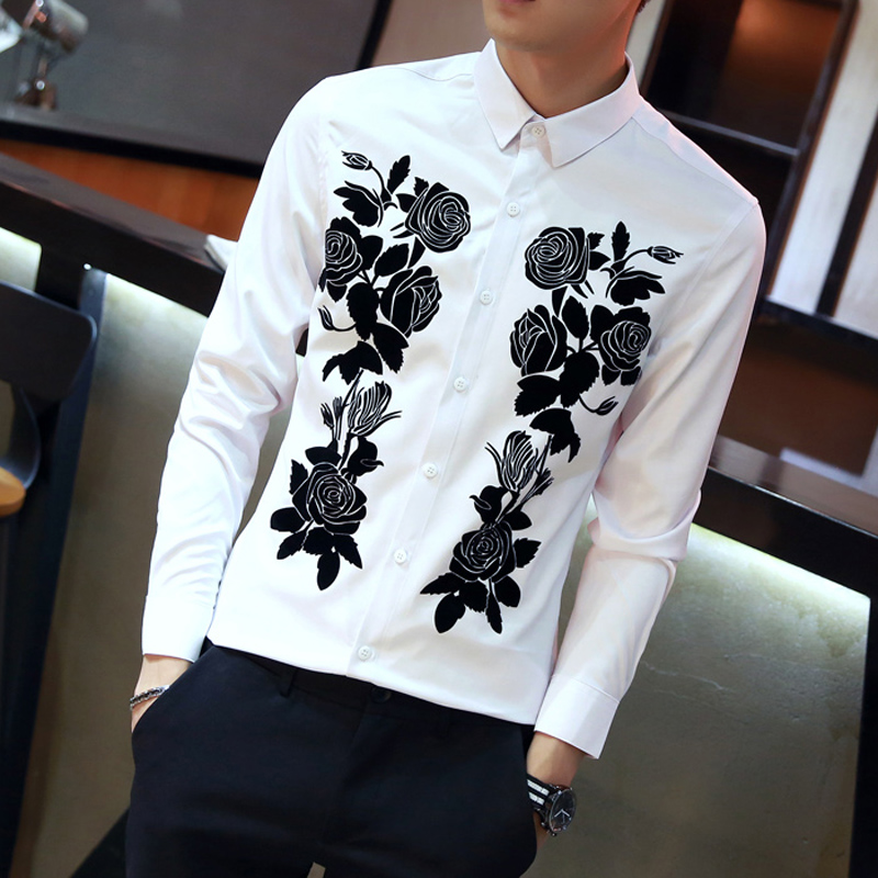 Loldeal Autumn Men Shirt Black/White Long Sleeve Slim Fit Plant flower Casual Shirt Turn Down Collar Blouse camisa social