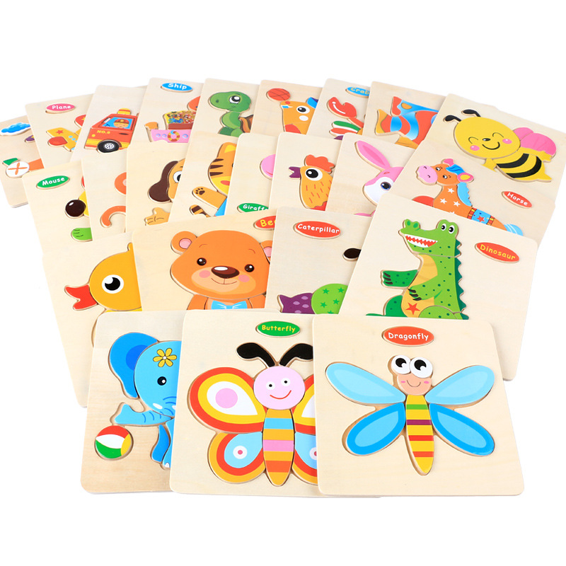 1PCS 3D Wooden Toys Jigsaw Puzzles Cartoon Animal/Traffic Puzzle Baby Early Educational Toys For Children Kids Gifts