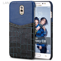 Wangcangli Brand Phone Case Crocodile Pattern And Wax Leather Mixed Color Half Pack Phone Case For