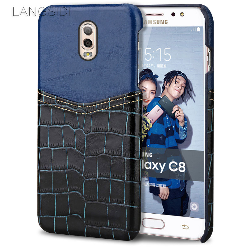wangcangli brand phone case crocodile pattern and wax leather mixed color half pack phone case For Samsung C8 custom processing