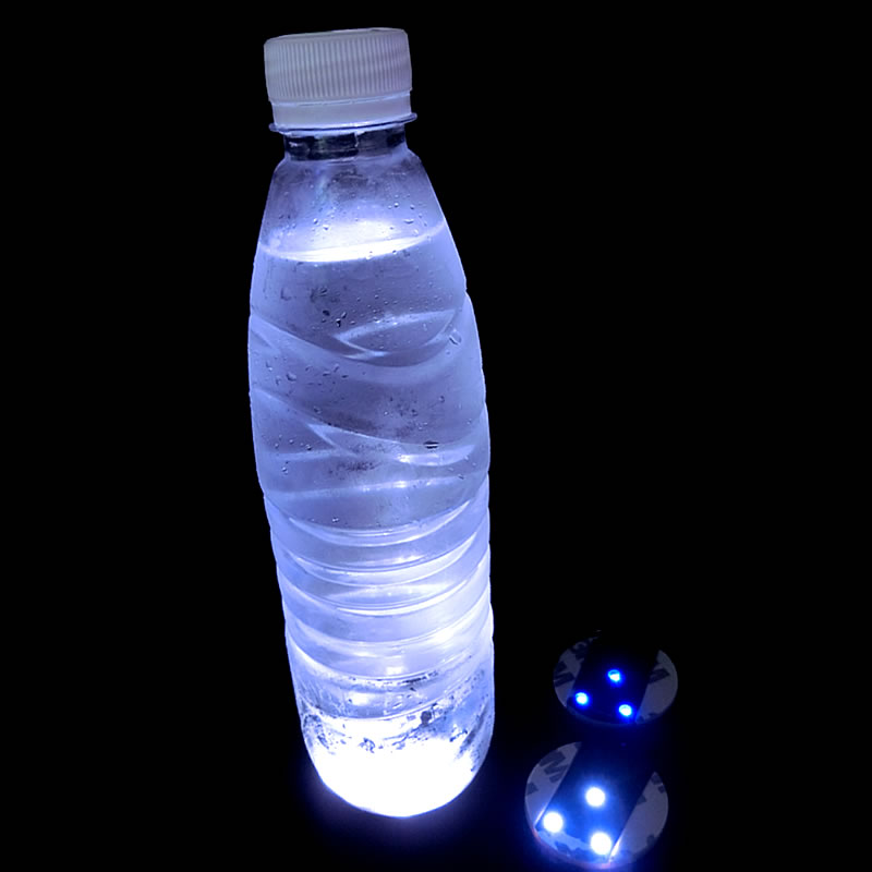 100st Super Bright White Light Mini LED Bottle Coaster 3M Klistermärke Light for Wedding Party Night Clubs