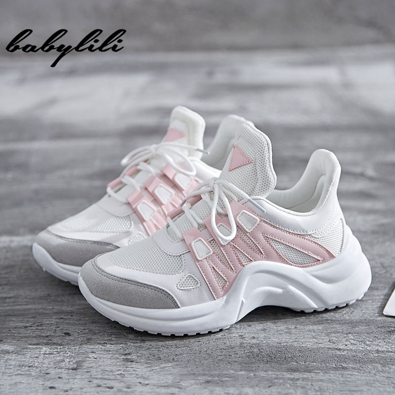 Sneakers Women Summer Vulcanize Female Fashion Sneakers Lace  Soft Basket Femme Dad Platform Breathable Mesh Sneakers for Women(China)