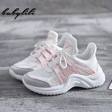 Женские кроссовки; сезон лето; женские модные кроссовки из Вулканизированной Ткани; мягкие женские кроссовки на шнуровке; женские кроссовки на платформе с дышащей сеткой