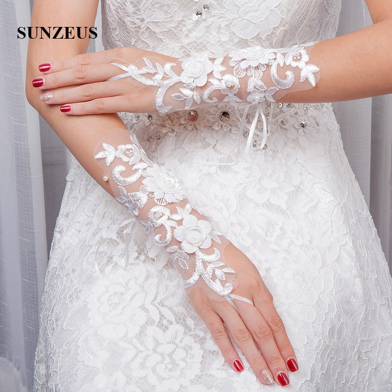 Opera Length Wedding Gloves Fingerless White Lace Gloves for Women - Bruiloft accessoires - Foto 4