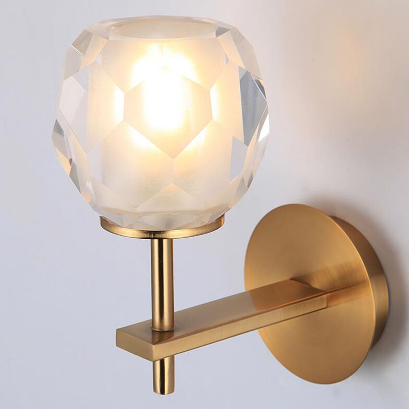 Crystal Glass Bedside Lamp Living Room Northern Europe Post Modernism Simple Bedroom Aisle LED Wall Light Free Shipping bedroom bedside wood led aisle corridor light northern europe simple living room wooden acrylic round wall lamp free shipping