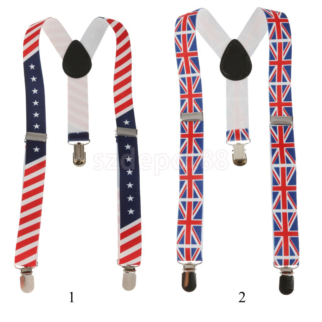 Unisex Printed Webbing Suspender Adjustable Galluse For Child The Union Jack