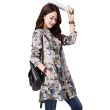 Women Tops 2016 New Autumn Casual Printed Cotton Linen Long Sleeve Women font b Blouses b