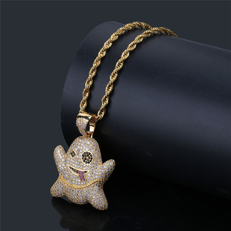 Lucky Sonny Funny Emoji Hip Hop Pendant Necklace Rapper Hot Bling CZ Iced Out Jewelry Silver Color Necklace & Pendant Rope Chain box chain 60cm simulated diamonds 70mm big pendant jesus pendant christ the redeemer bling hip hop mens necklace