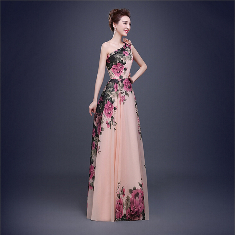 Beautiful Long Designs In Stock One Shoulder Flower Pattern Floral ...