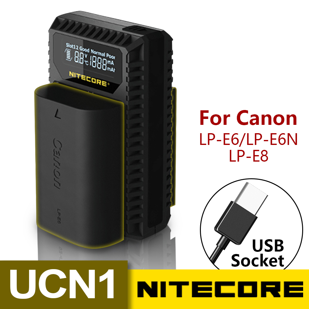 Nitecore UCN1 Digital USB Charger For Canon EOS LP-E6 LP-E6N LP-E8 Batteries EOS 5D Mark II III 5DS R 6D 60D 60Da 7D 70D XCIO