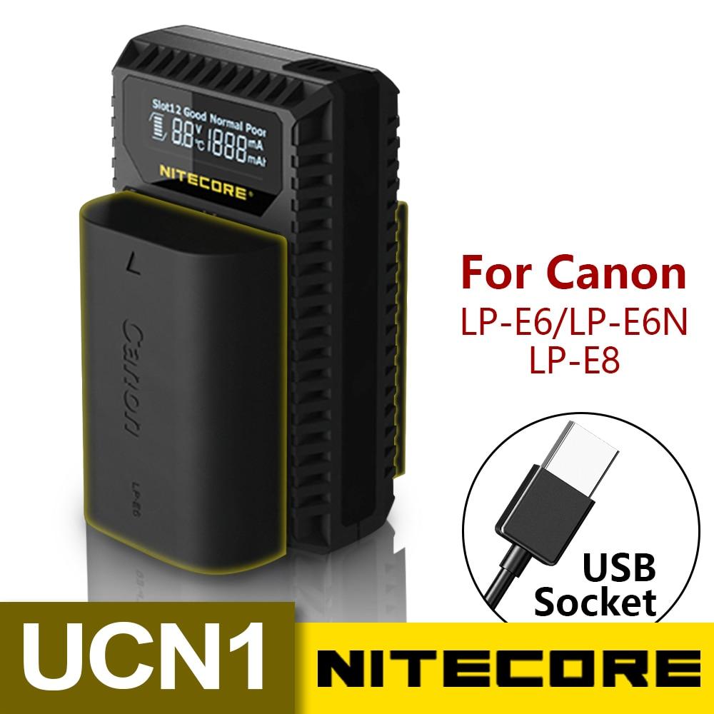 Nitecore UCN1 LP-E6N Digitale USB Caricabatteria Per Canon EOS LP-E6 LP-E8 Batterie EOS 5D Mark II III 5DS R 6D 60D 60Da 7D 70D XCIO