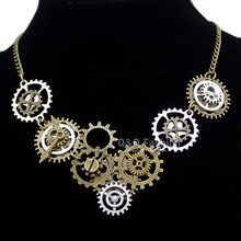 Vintage Gold & Silver Watch Clock Clockwork Hand Gear Cog Steampunk Punk Chain Pendant Necklace Jewelry Men Women