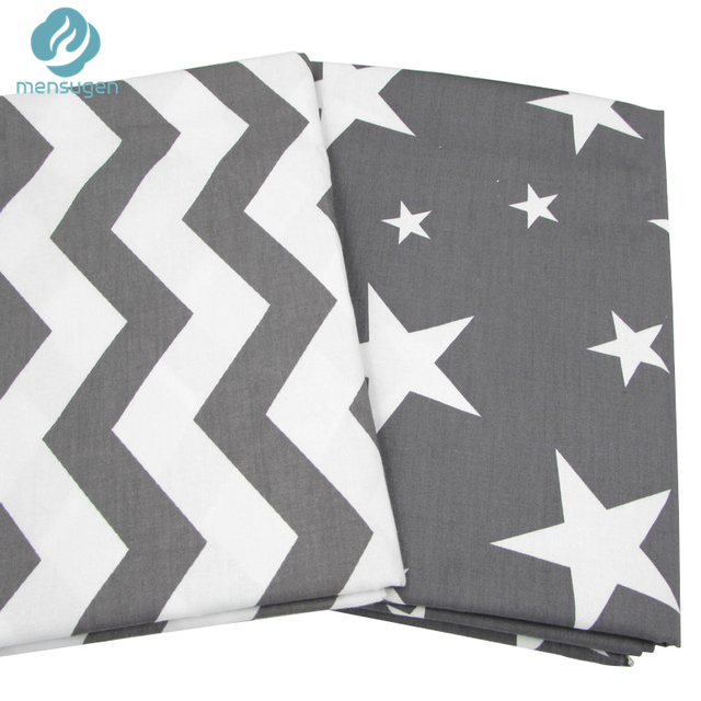 2pc 50*160cm Grey Stars Chevron Design Cotton Fabric for Home Textile Cushion Sewing Baby Quilts Fabric Home Decoration Material
