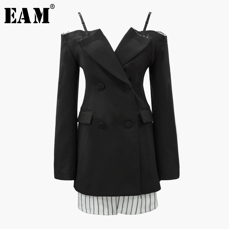 Manteau Printemps 2019 Costume eam Slash Noir V cou Poitrine Femme Stripe Slim Black Unique Cou Tempérament Soild Spliced Ld0224 wAAS5qOad