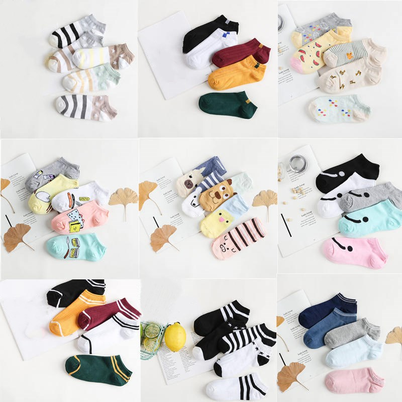 Jeseca 5 Pairs 2018 Autumn Women Fashion Retro Socks Winter Warm Female Cartoon Cute Short Ankle Sock Animal Print Sox Sales Hot