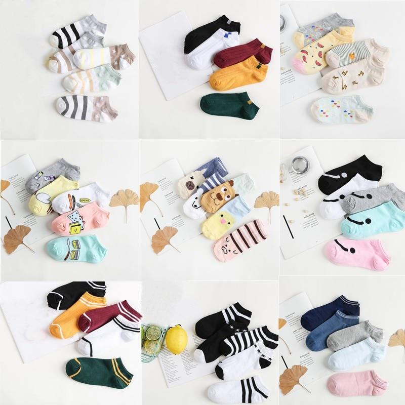Jeseca 5 Pairs 2018 Autumn Women Fashion Retro Socks Winter Warm Female Cartoon Cute Short Ankle Sock Animal Print Sox Sales Hot