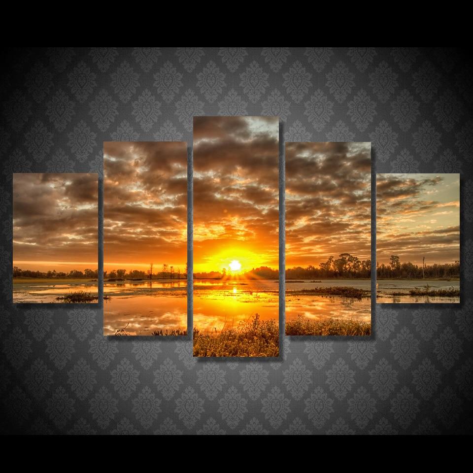 5 Piece Canvas Art Sunrise Morning Sun Hd Print Wall